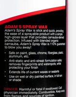Adam's Spray Wax 16 oz - Adam's Polishes Australia