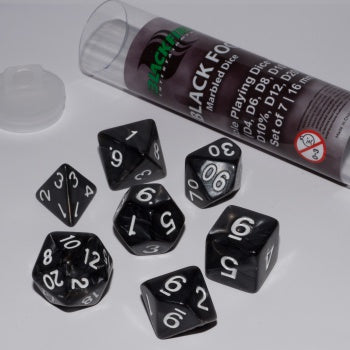Blackfire Dice - 16mm Role Playing Dice Set - Black Fog (7 Dice)