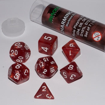 Blackfire Dice - 16mm Role Playing Dice Set - Charming Red (7 Dice)