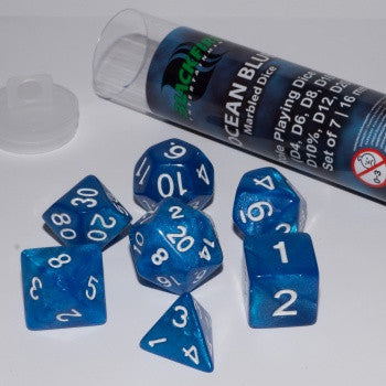 Blackfire Dice - 16mm Role Playing Dice Set - Ocean Blue (7 Dice)