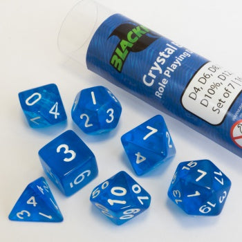 Blackfire Dice - 16mm Role Playing Dice Set - Crystal Blue (7 Dice)