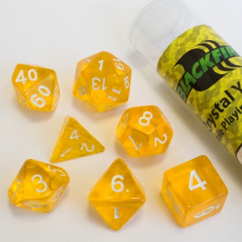 Blackfire Dice - 16mm Role Playing Dice Set - Crystal Yellow (7 Dice)