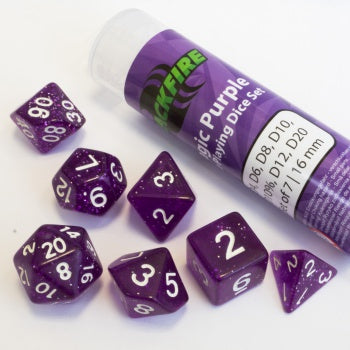 Blackfire Dice - 16mm Role Playing Dice Set - Magic Purple (7 Dice)