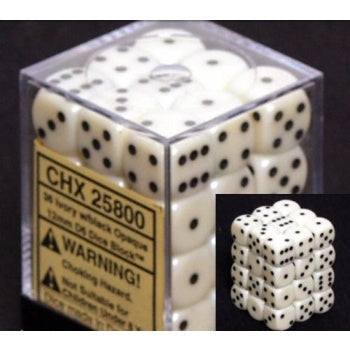 Chessex Opaque 12mm d6 with pips Dice Blocks (36 Dice) - Ivory w/black - зарчета