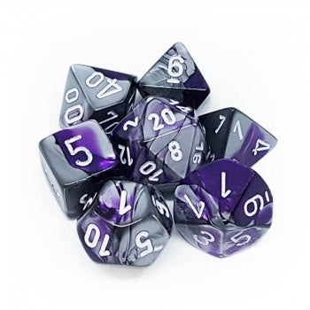 Chessex Gemini Polyhedral 7-Die Set - Purple-Steel with white - зарчета