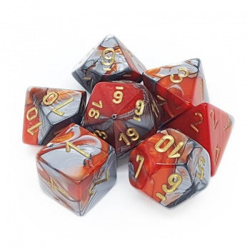 Chessex Gemini Polyhedral 7-Die Set - Orange-Steel with gold - зарчета