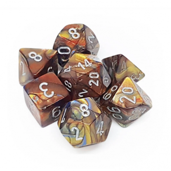 Chessex Lustrous 7-Die Set - Gold with silver - зарчета