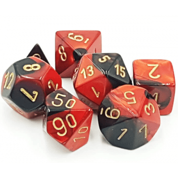Chessex Gemini Polyhedral 7-Die Set - Black-Red with gold - Pikko Games