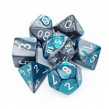 Chessex Gemini Polyhedral 7-Die Set - Steel-Teal with white
