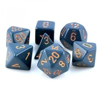 Chessex Opaque Polyhedral 7-Die Sets - Dusty Blue with gold - Pikko Games