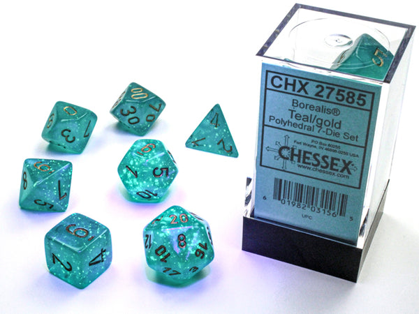 Chessex Borealis Luminary Polyhedral 7-Die Set - Teal/Gold - зарчета