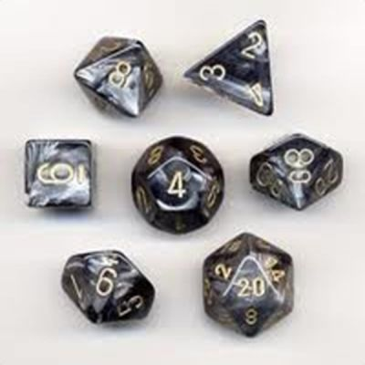 Lustrous Black Gold Polyhedral 7-Die Set