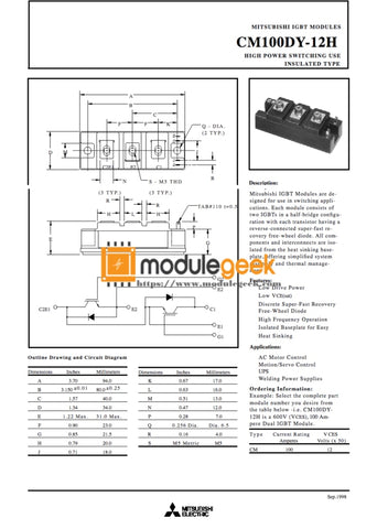 1Pcs Power Supply Module Mitsubishi Cm100Dy-12H New 100% Best Price And Quality Assurance Module