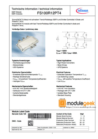 1PCS INFINEON FS100R12PT4 POWER SUPPLY MODULE NEW 100% Best price and quality assurance