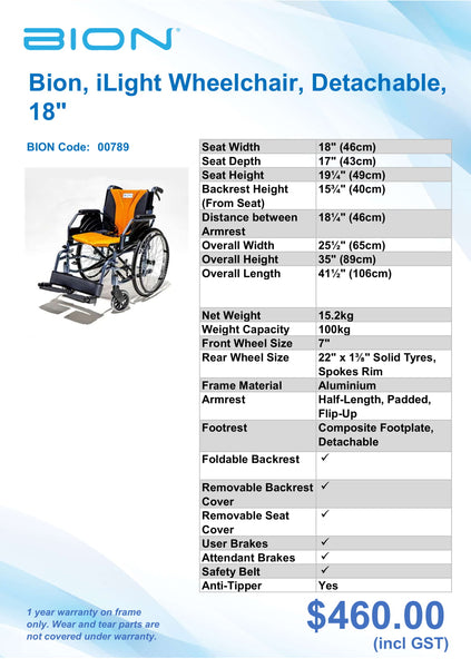 Wheelchair Specification Sheets