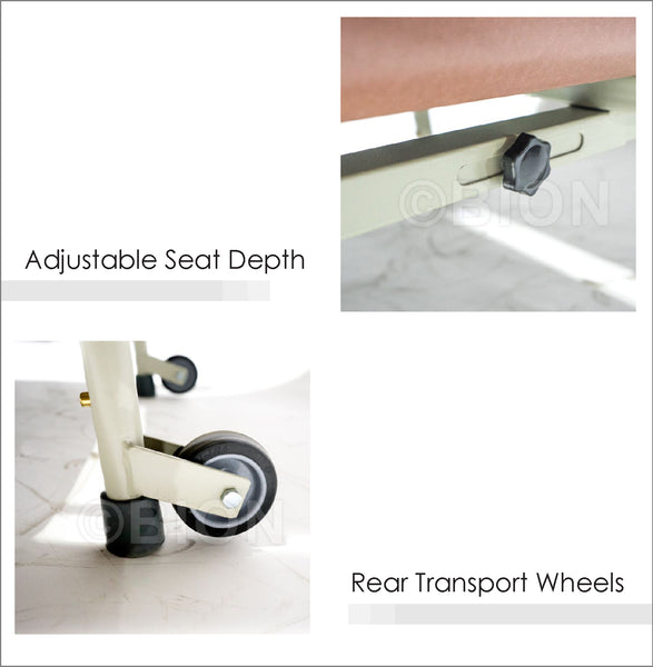 Adjustable Seat Depth and Rear Transport Wheels