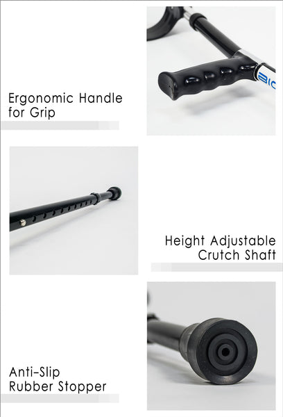 Ergonomic Handle for Grip, Height Adjustable Crutch Shaft and Anti-Slip Rubber Stopper