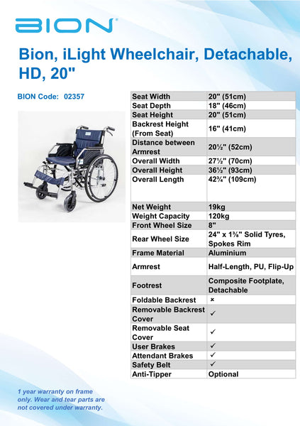 FOR RENT: BION iLight Wheelchair Detachable HD 20""