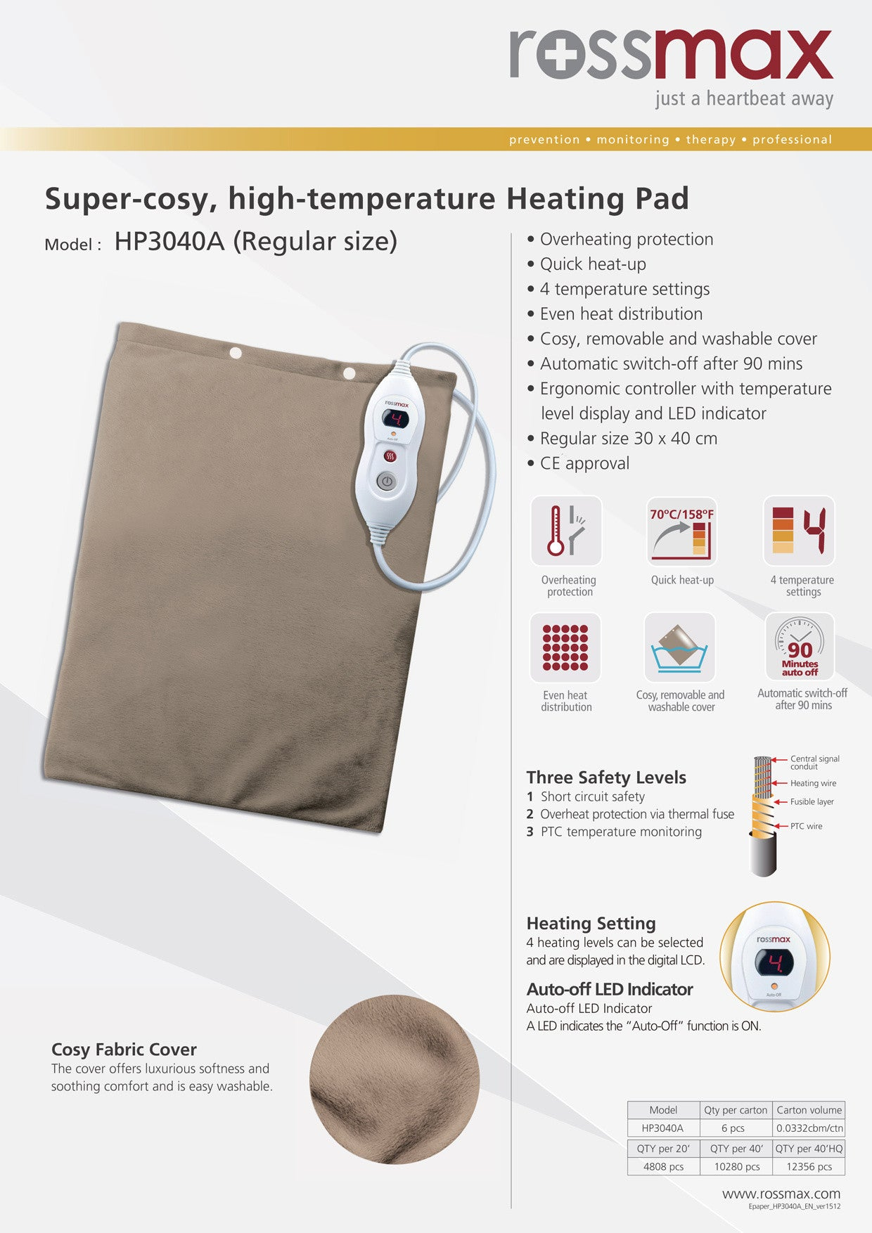 Heating Pad Specification Sheets