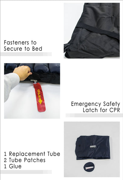 Fasteners to Secure to Bed, Emergency Safety Latch for CPR and Repair Kit