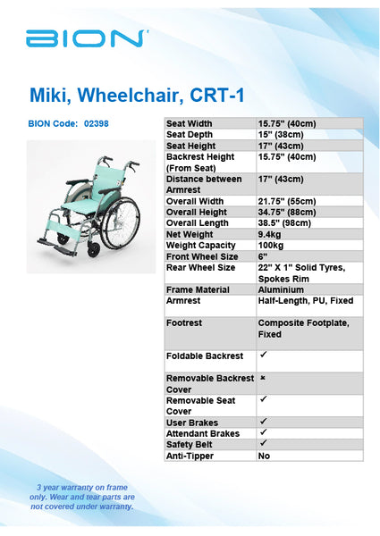 Miki Wheelchair CRT-1