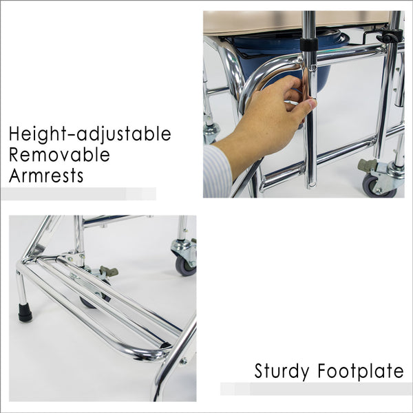 Height -adjustable Removable Armrests and Sturdy Footplate