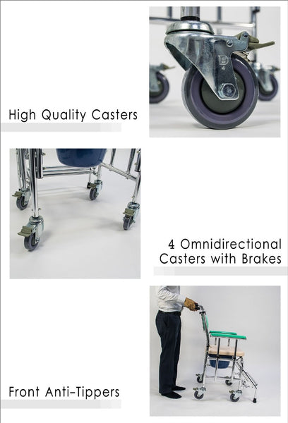 4 Omni-Directional Casters with Brakes and Front Anti-Tippers