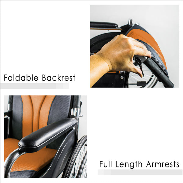 Foldable Backrest and Full Length Armrests