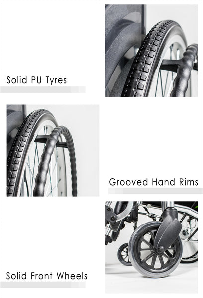 Solid PU Tyres, Grooved Hand Rims and Solid Front Wheels