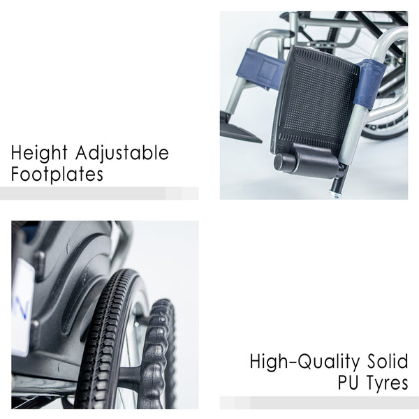 Height Adjustable Footplates and High Quality Solid PU Tyres