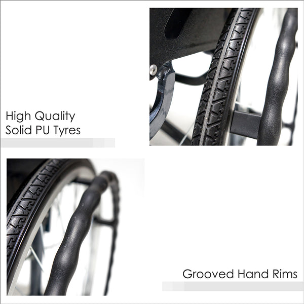 High Quality Solid PU Tyres and Grooved Hand Rims
