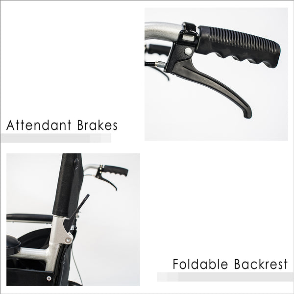Attendant Brakes and Foldable Backrest