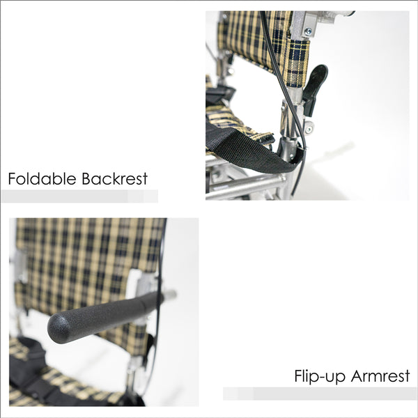 Foldable Backrest and Flip-up Armrests