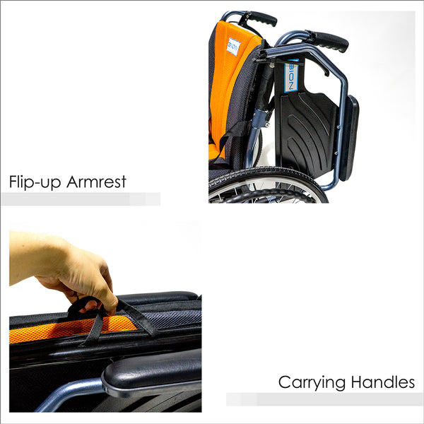 Flip-up Armrests and Carrying Handles