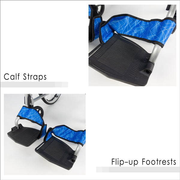 Flip-up Footrests with Calf Straps