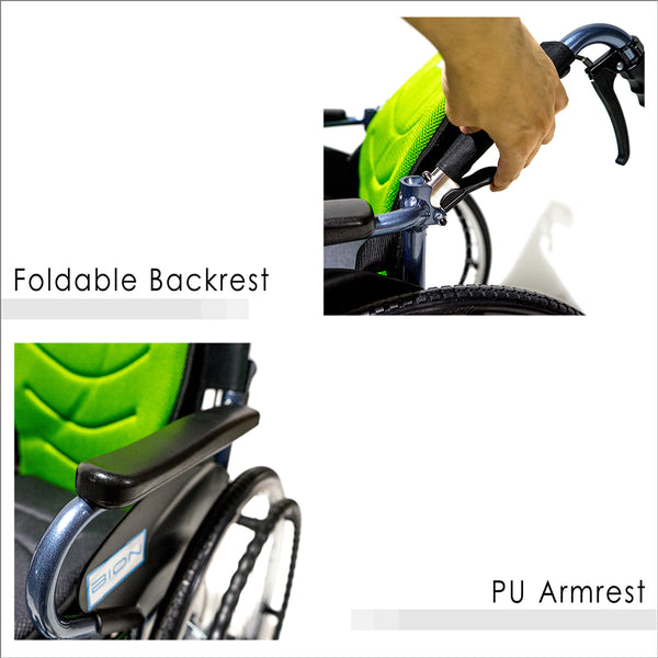 Foldable Backrest and PU Armrests