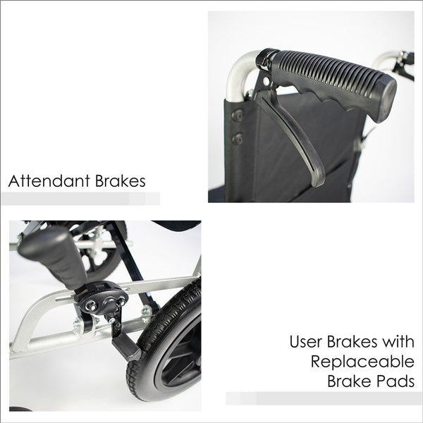 Attendant Brakes and User Brakes with Replaceable Brake Pads