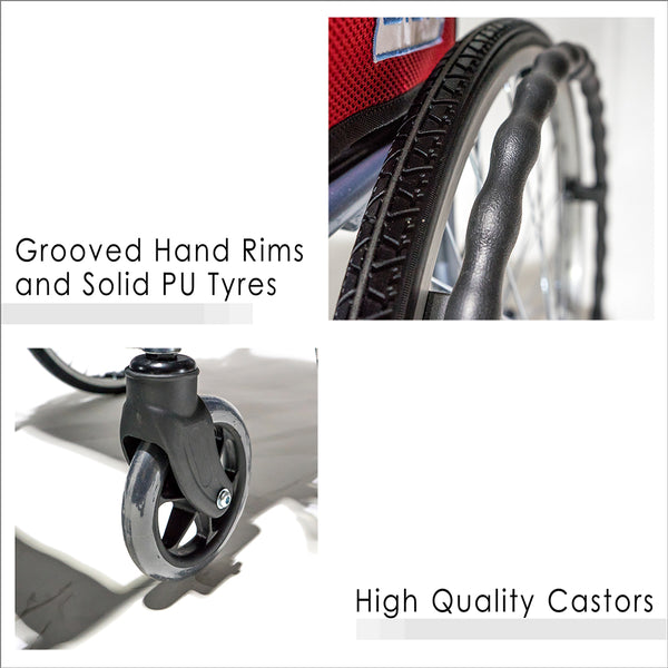 Grooved Hand Rims, Solid PU Wheels and High Quality Castors