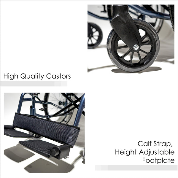 High Quality Castors and Calf Strap, Height Adjustable Footplate