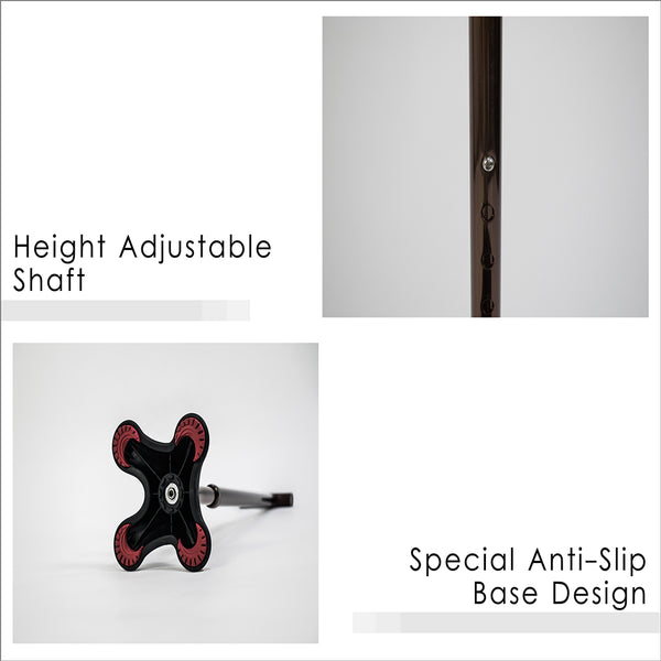 Height Adjustable Shaft and Special Anti-Slip Base Design