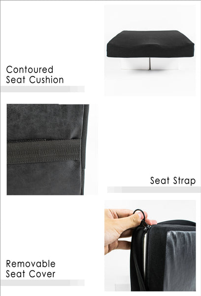 Contoured Seat Cushion, Seat Strap and Removable Seat Cover
