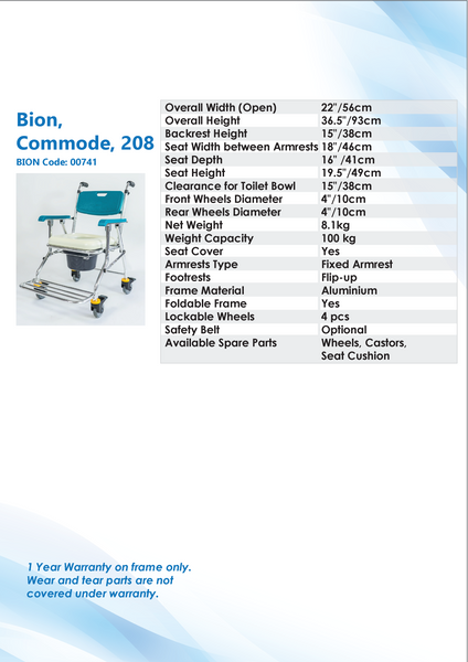 Commode Specification Sheets