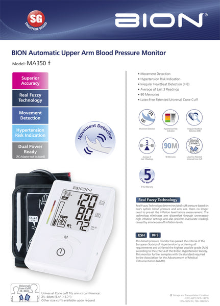 BION Automatic Blood Pressure Monitor MA350f