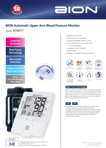 BION Automatic Blood Pressure Monitor MA801f