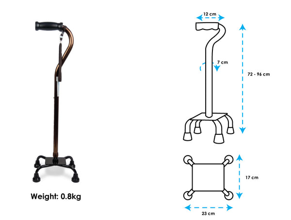BION Quad Cane Narrow Base_Specifications