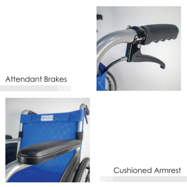 Attendant Brakes and Cushioned Armrest