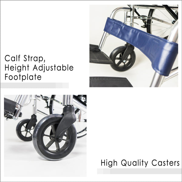 Calf Strap, Height Adjustable Footrest and High Quality Casters