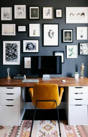 Home office with Kilim rug
