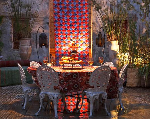 Dining in the garden at night - Riad Idrissy, Fes