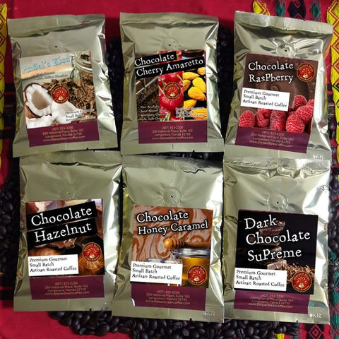 """Chocolate Lovers"" flavored coffee.. SAMPLER ...FREE SHIPPING"